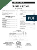 Modesto Sukiyaki Dinner Menu