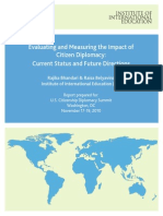 Evaluating and Measuring the Impact of Citizen Diplomacy- Current Status and Future Directions Roundtable