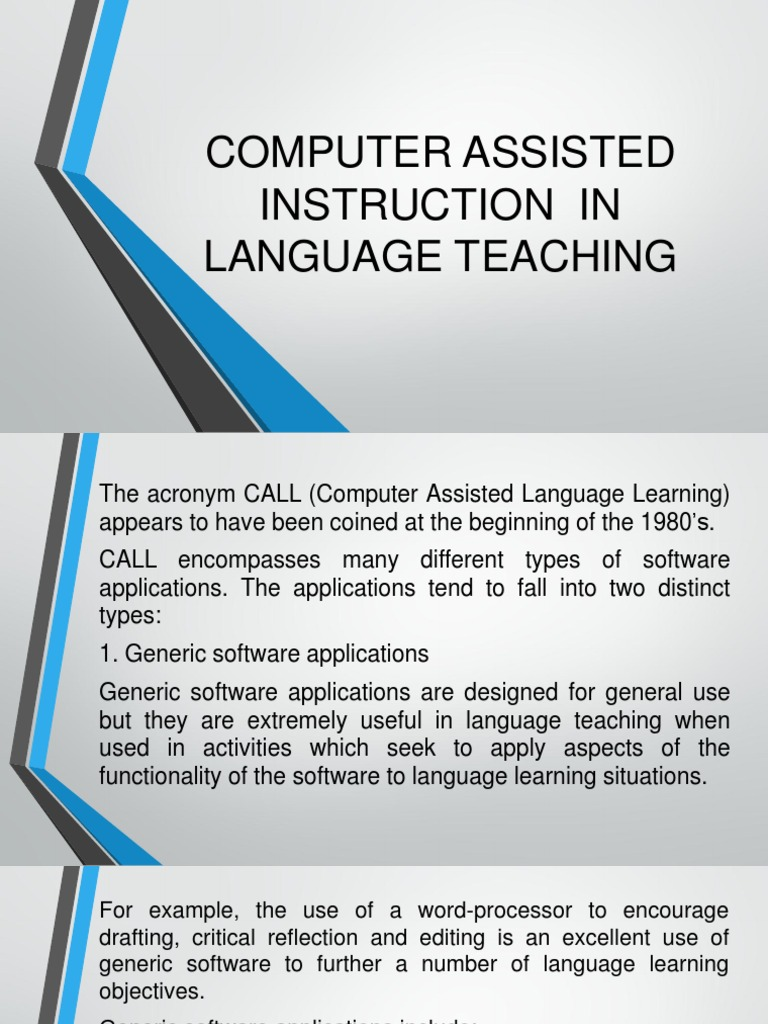 F Computer Assisted Instruction In Language Teaching Educational