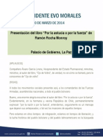 """Discurso del presidente Evo Morales en la presentación del libro """"Por la astucia o por la fuerza"""" de Ramón Rocha Monroy 20.03.2014"""