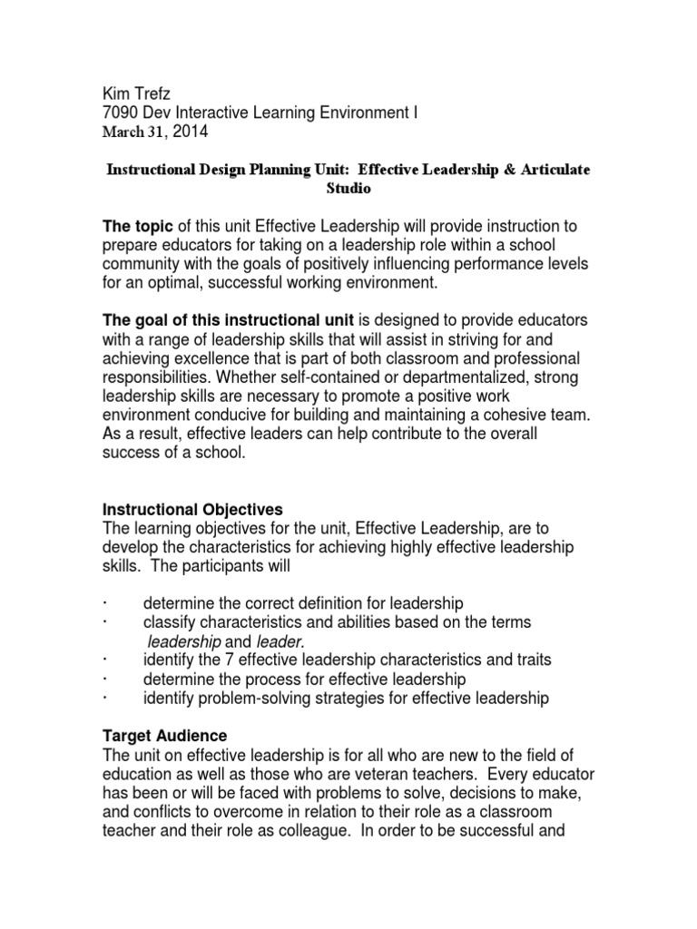 Ktrefz Articulate Instructional Planning Unit Leadership