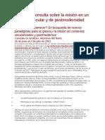 Consulta sobre la misión en un contexto secular y de postmodernidad CMI 2002