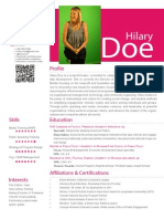 Resume, Hilary Doe (2014)