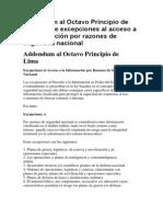 Addendum al Octavo Principio de Lima sobre excepciones al acceso a la información por razones de seguridad nacional