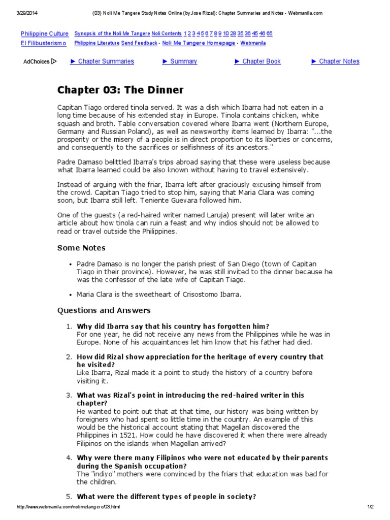 noli me tangere chapter 20 summary