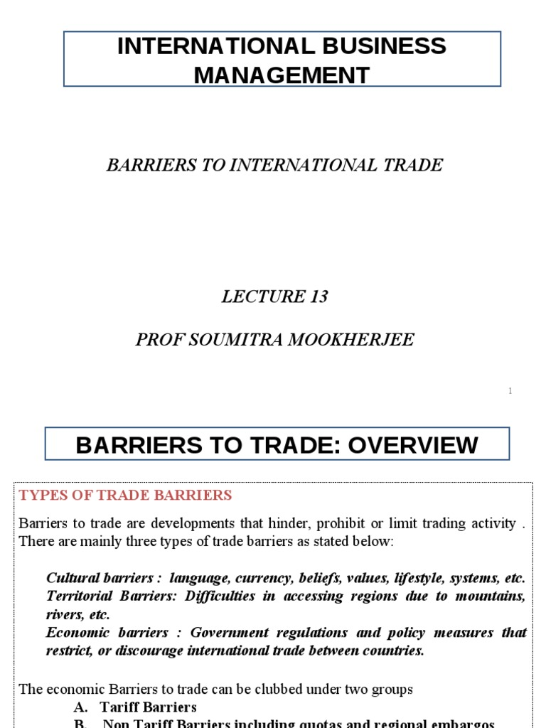 Measures of non-tariff regulation of foreign trade activity. Classification of non-tariff measures