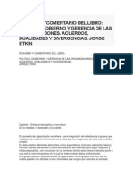 Resumen y Comentario Del Libro Politica, Gobierno y Gerencia de Las Organizaciones. Acuerdos, Dualidades y Divergencias. Jorge Etkin