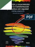Cepal, Educacion y Conocimiento, 1992
