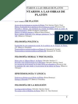 Comentarios A Las Obras De Platón Platón Epistemología