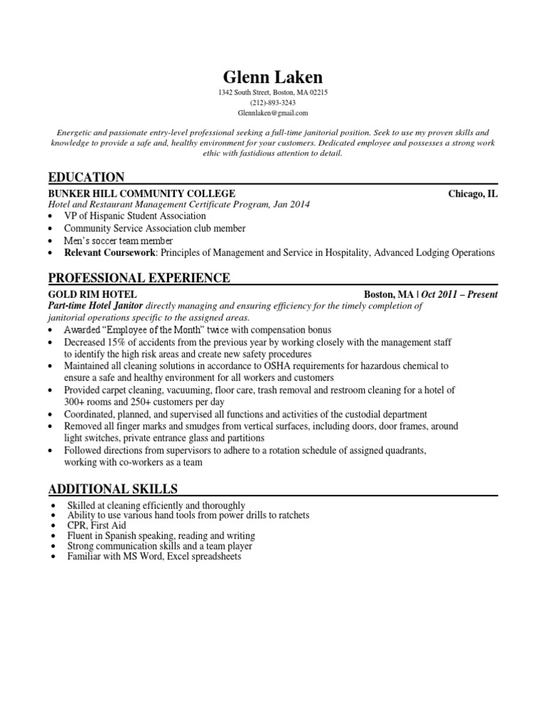 glenn laken sample janitor resume