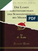 Die Losen Versteinerungen Des Schanzenberges Bei Meseritz
