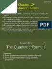 10 2 the quadratic formula