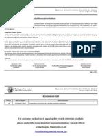 Dept of Financial Institutions Records Retention Schedule v1.0 Dec 2012