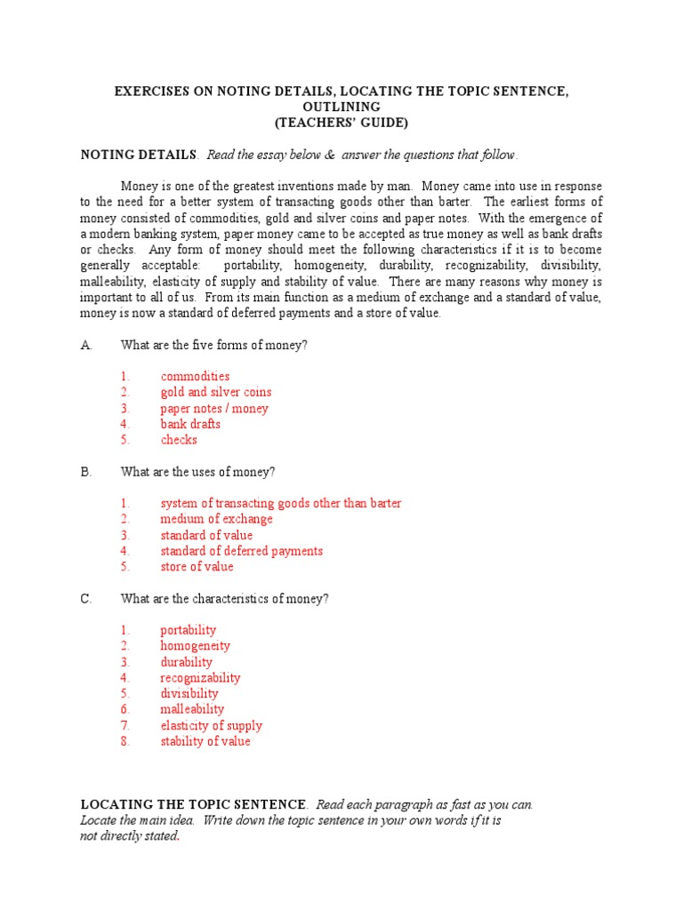 Exercises on Noting Details Locating the Topic Sentence And – Topic Sentence Worksheet
