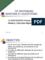 Diagnostic Proteinurie, Hematurie Et Leucocyturie