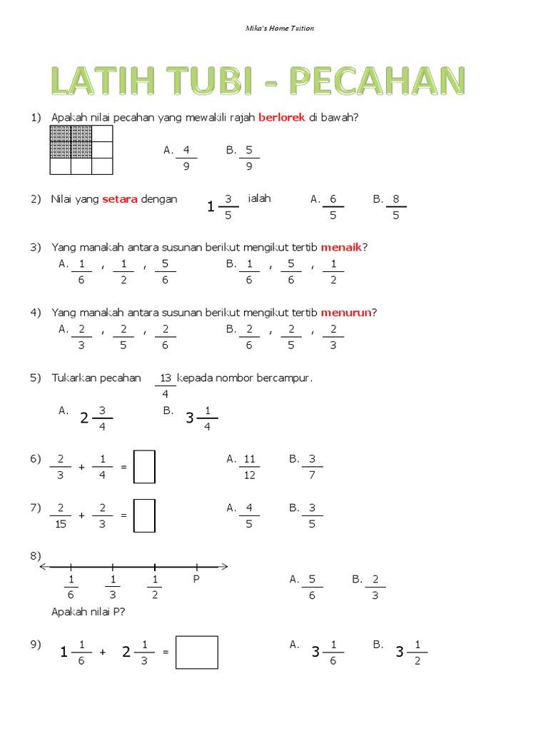 Contoh Soalan Matematik Pecahan Tahun 5 Soalan 0