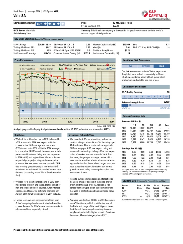 Vale   Stock Report   20jan20   S&P Capital   Standard & Poor's ...