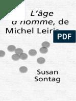 Sontag, Susan - L'age d'homme, de Michel Leiris