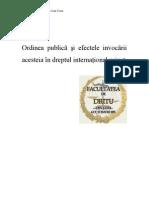 Ordinea Publica Si Efectele Invocarii Ei in Dreptul International Privat