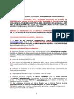 Aviso Aprovados XII Exame Unificado Insc.adv .1