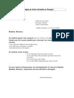 Un exemple de lettre formelle en Français