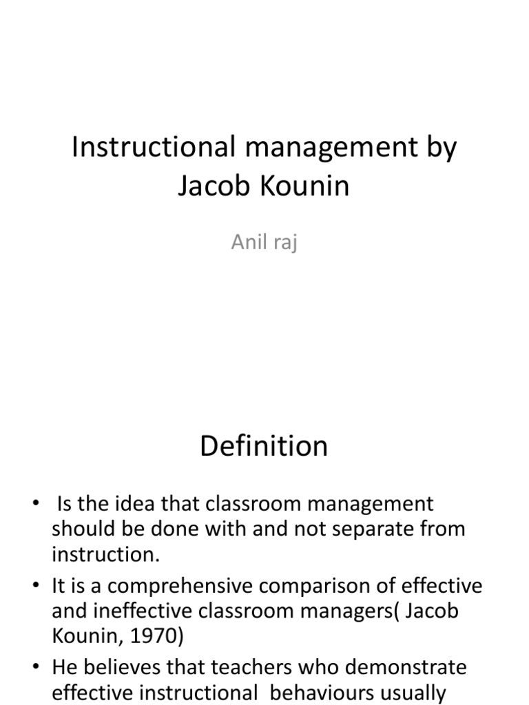 instuctional management by jacob kounin | attention | classroom