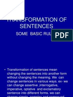 Ppt on Transformation | Verb | Sentence (Linguistics)