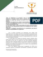 Carta OCEP Al Colegio de Psicólogos de Chile