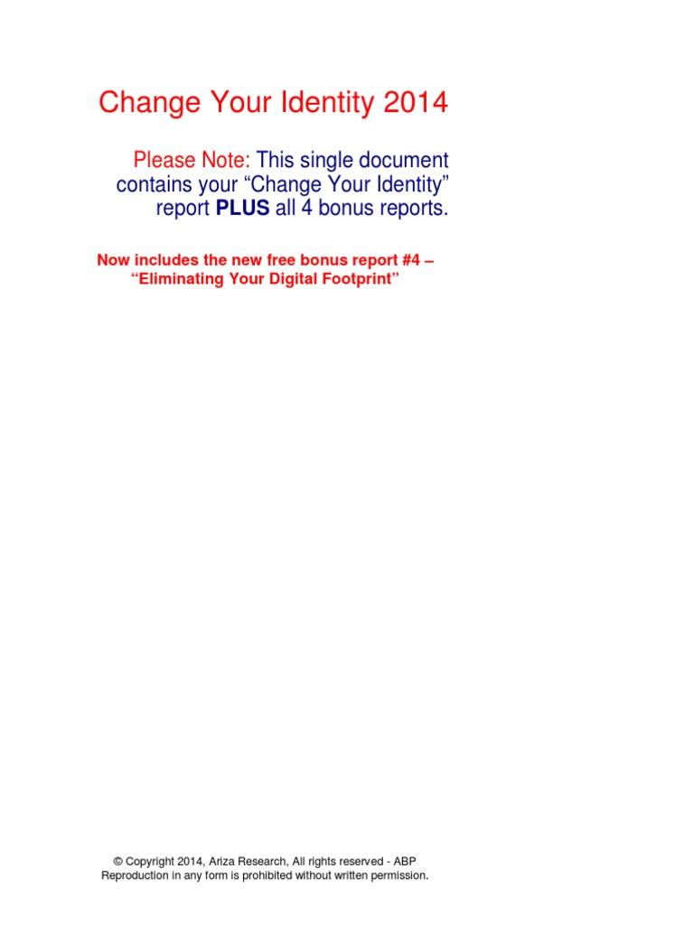 ariza research change identity 2014 identity document department