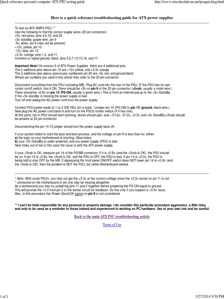 Quick Reference Personal Computer ATX PSU Testing Guide | Electrical ...