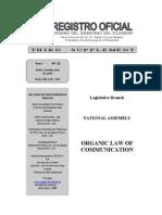 ECUADORIAN ORGANIC LAW OF COMMUNICATION