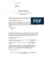 Breve Ayuda de Sintaxis de Matlab 2013