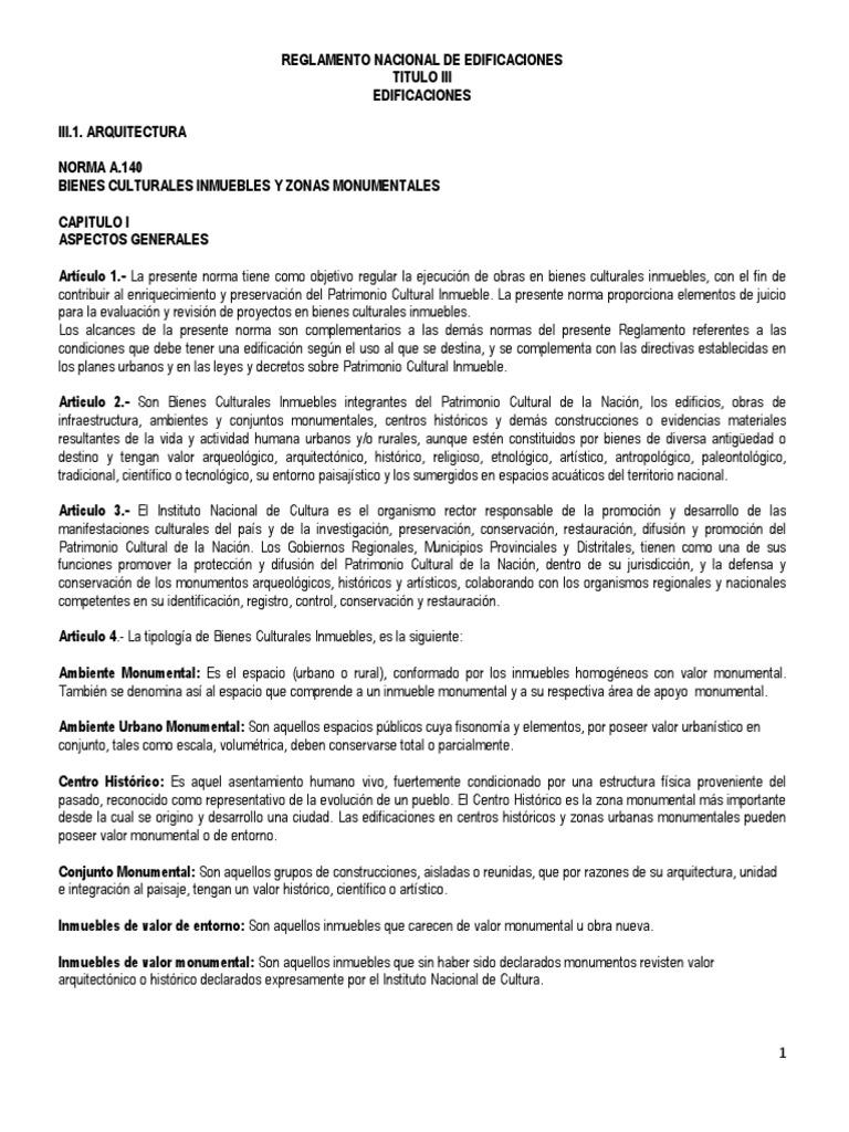 Rne Norma A140 Reglamento Edificaciones Cap Iii