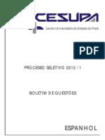 Cesupa Pa 2012 1 Prova Completa Espanhol c Gabarito