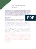 ipad apps list for kindergarten
