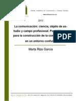 La comunicación. Ciencia, objeto de estudio y campo profesional-Rizo, Marta-Revista Metacomunicación