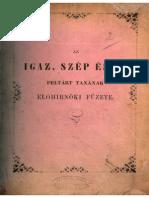 Kováts Frigyes dr. - Az igaz, szép és jó feltárt tanának előhírnöki füzete 1861.
