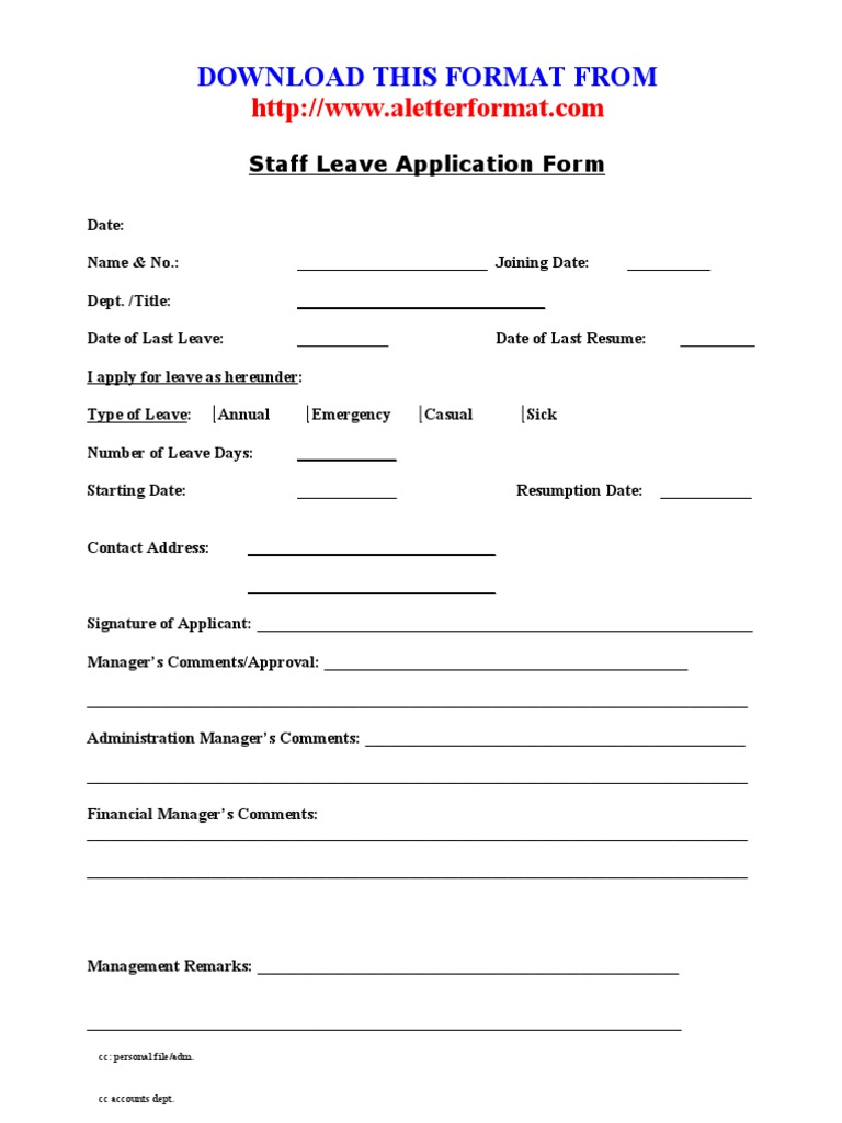 Doc8501100 Leave Application Form for Office Sick Leave – Leave Application Form for Office