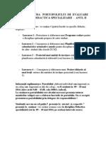 Structura Portofoliului de Evaluare Didactica