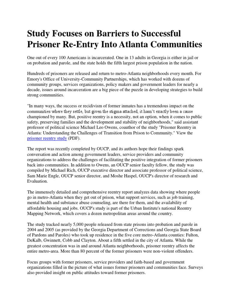 Study Focuses on Barriers to Successful Prisoner Re   Prison