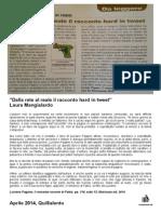 """1 Aprile 2014 - Laura Mangialardo, su QuiSalento, recensisce """"Il romanzo osceno di Fabio"""" di Luciano Pagano"""