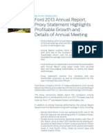 Ford 2013 Annual Report Proxy Statement Highlights Profitable g