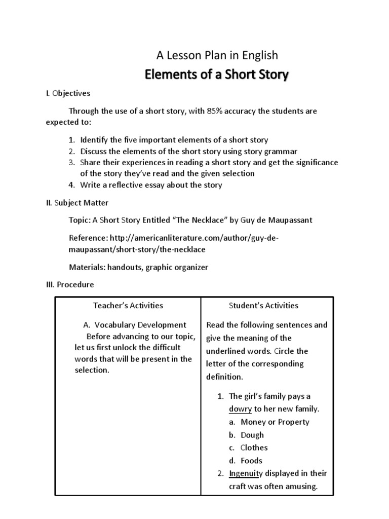 a lesson plan in english by laurence mercado | Plot (Narrative