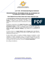 BOLETIN de PRENSA 002 - 2014 -Segunda Conferencia de Prensa La Hora Del Planeta