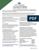 Nursing Program Admission Information 2014 2015