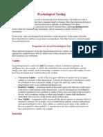 characteristics of a good psycological test