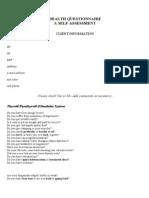 Health Questionnaire Form