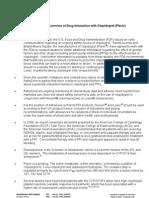 NEXIUM-Occurrence of Drug Interaction With Clopidogrel (Plavix) Summary