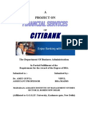Project on Citi Bank | Citigroup | Citibank