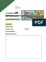 Volunteer Job Sheet